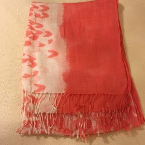 Fun orange and cream scarf with fringe